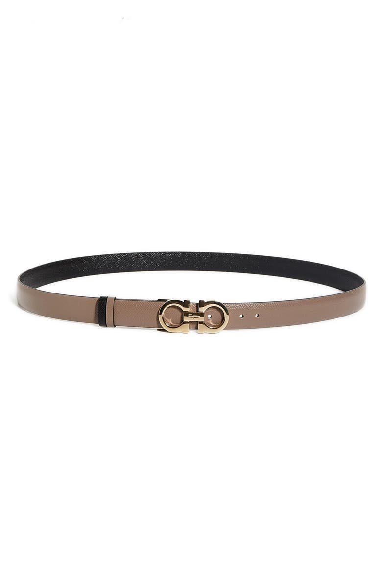SALVATORE FERRAGAMO Reversible Gancini Calfskin Leather Belt, Main, color, CARAWAY SEED