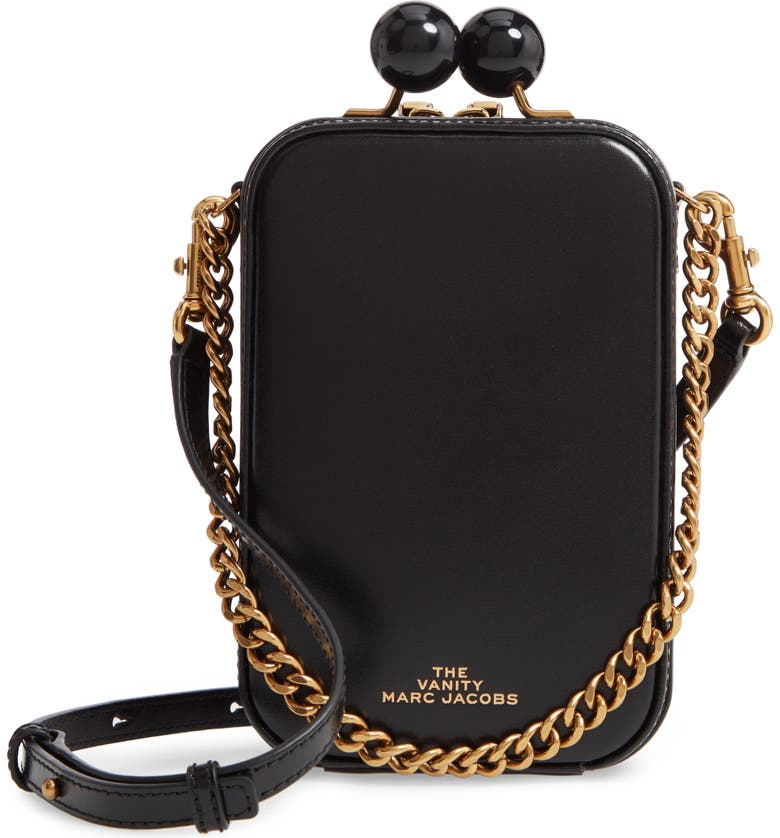 THE MARC JACOBS The Vanity Leather Crossbody Bag, Main, color, BLACK