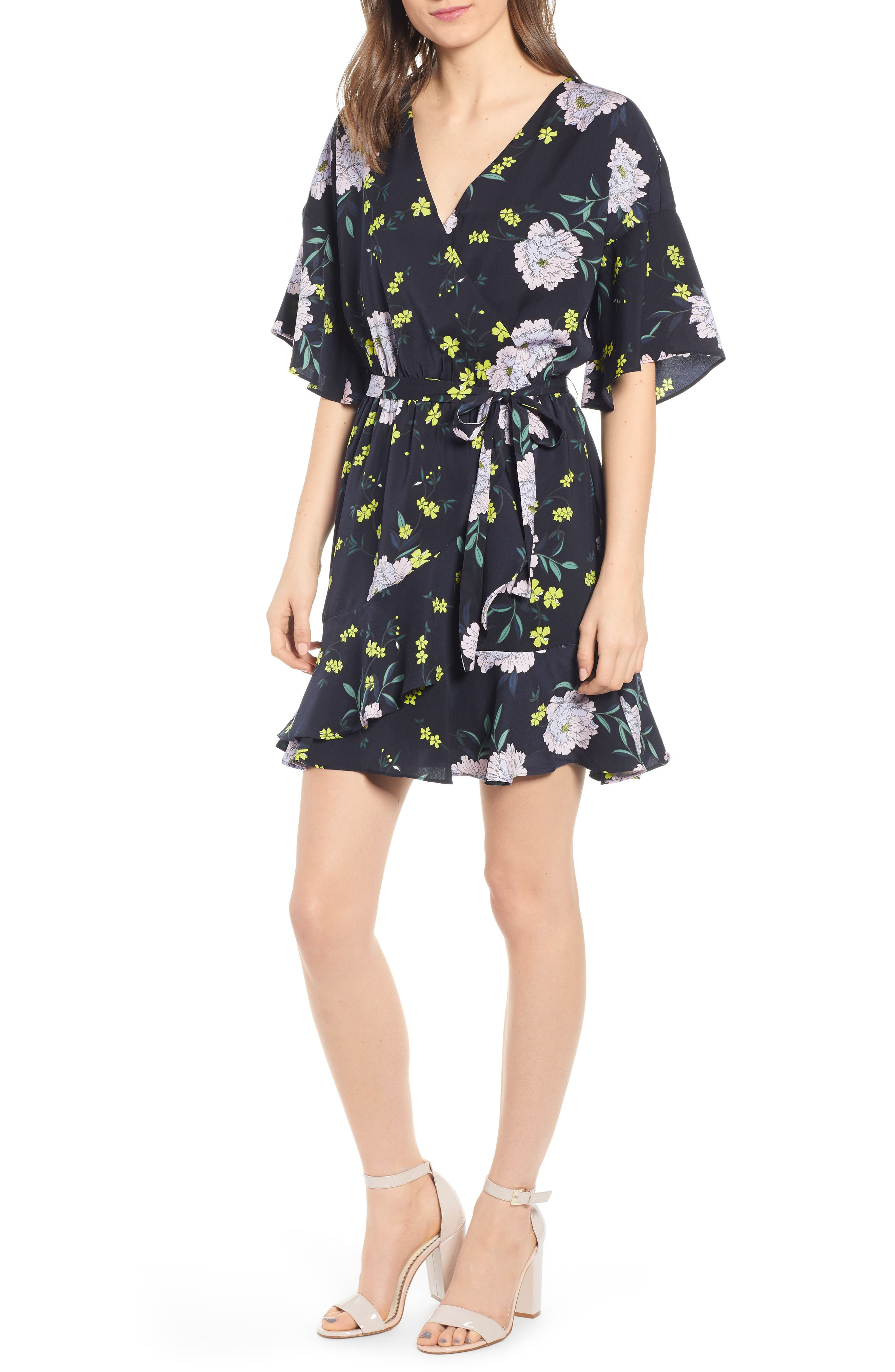 Cupcakes And Cashmere Floral Wrap Dress, Black