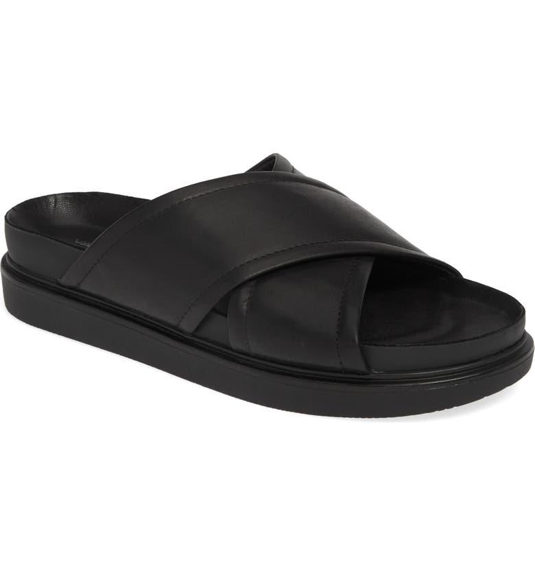 VAGABOND SHOEMAKERS Vagabond Erin Cross Strap Slide Sandal, Main, color, BLACK LEATHER