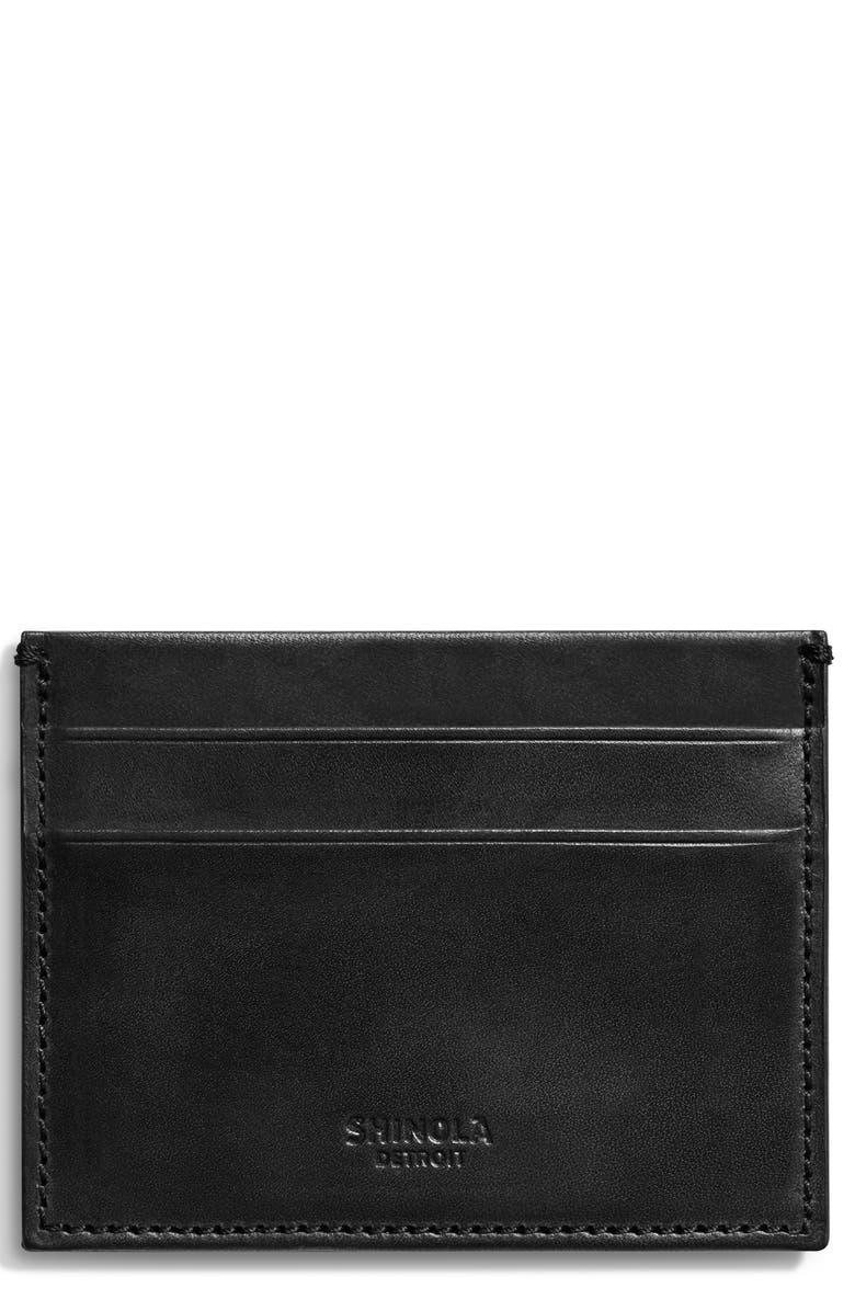 SHINOLA Harness Leather Card Case, Main, color, BLACK