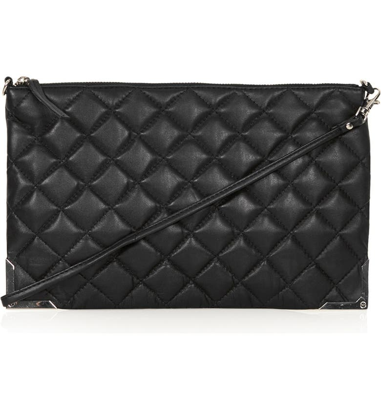 TOPSHOP Metal Corner Quilted Leather Clutch, Main, color, 001
