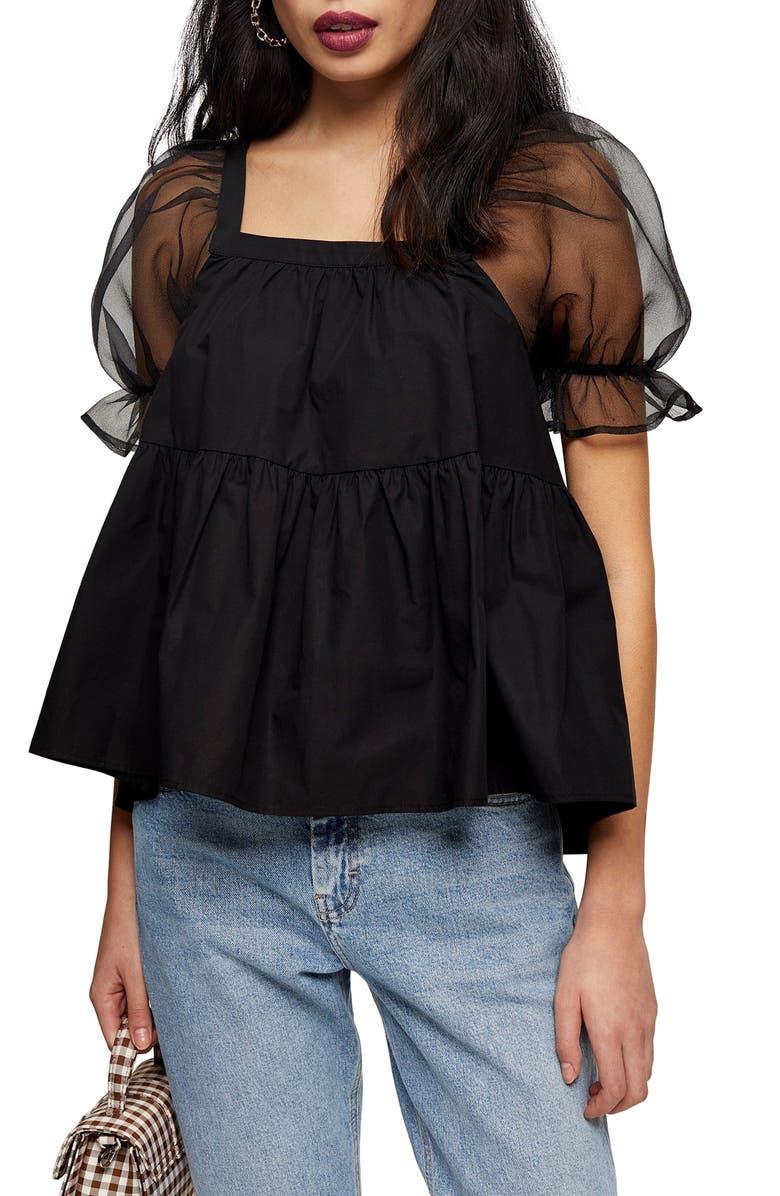 TOPSHOP Organza Sleeve Peplum Blouse, Main, color, BLACK