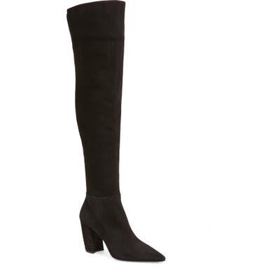 Prada Over The Knee Block Heel Boot, Black