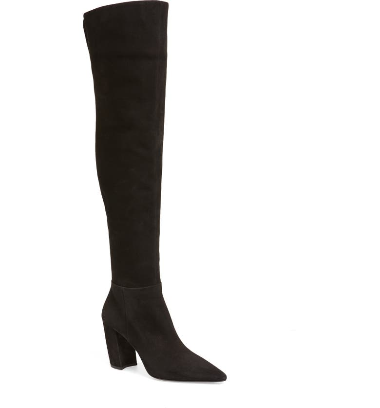 PRADA Over the Knee Block Heel Boot, Main, color, BLACK