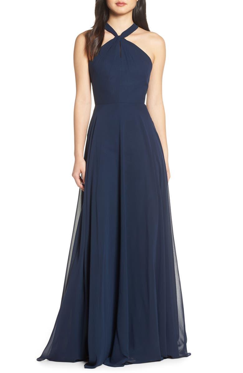 JENNY YOO Halle Halter Evening Dress, Main, color, NAVY