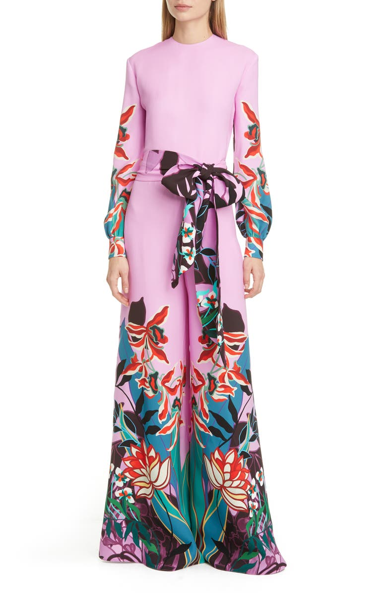 VALENTINO Orchid Print Long Sleeve Wide Leg Silk Cady Jumpsuit, Main, color, 650