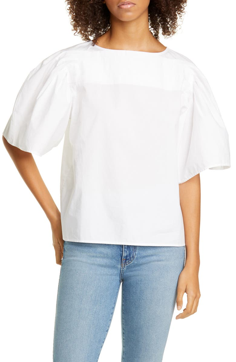 MERLETTE Canova Puff Sleeve Cotton PoplinTop, Main, color, WHITE