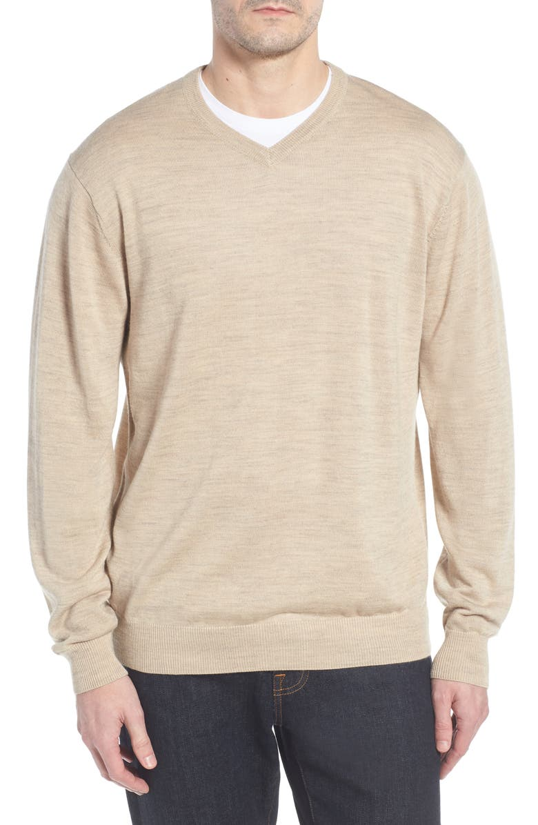 CUTTER & BUCK Douglas Merino Wool Blend V-Neck Sweater, Main, color, SAND HEATHER