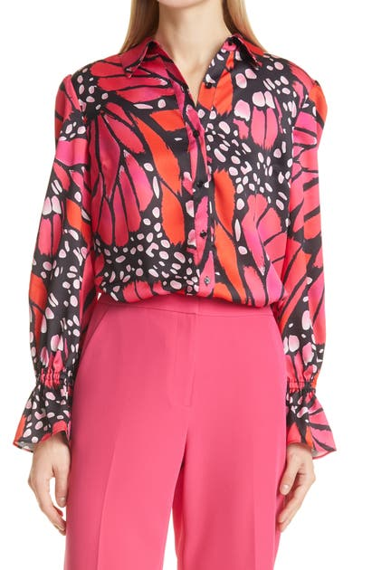 Milly LACEY BUTTERFLY SATIN BUTTON-UP BLOUSE