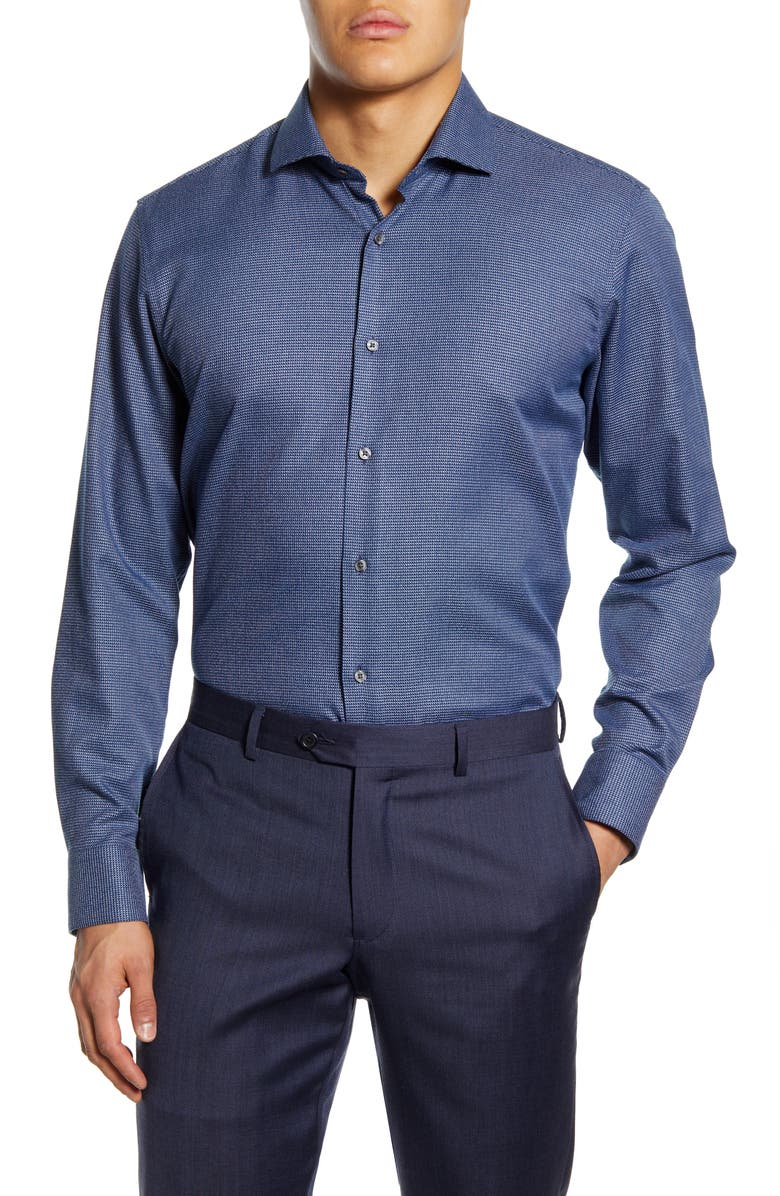 TED BAKER LONDON Thisisme Trim Fit Dress Shirt, Main, color, NAVY