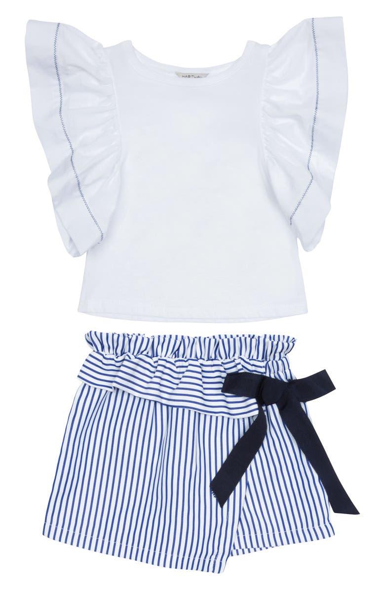 HABITUAL Cece Top & Wrap Shorts Set, Main, color, 100