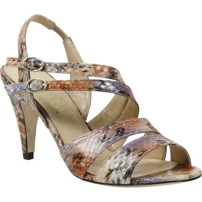 J. Renee Carro Snake Embossed Strappy Sandal, Beige
