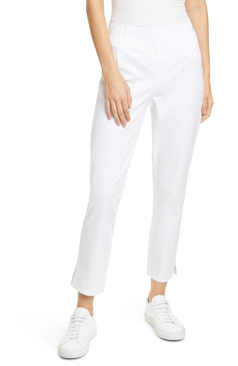 EILEEN FISHER Organic Stretch Cotton Slit Hem Ankle Pants, Main, color, 100