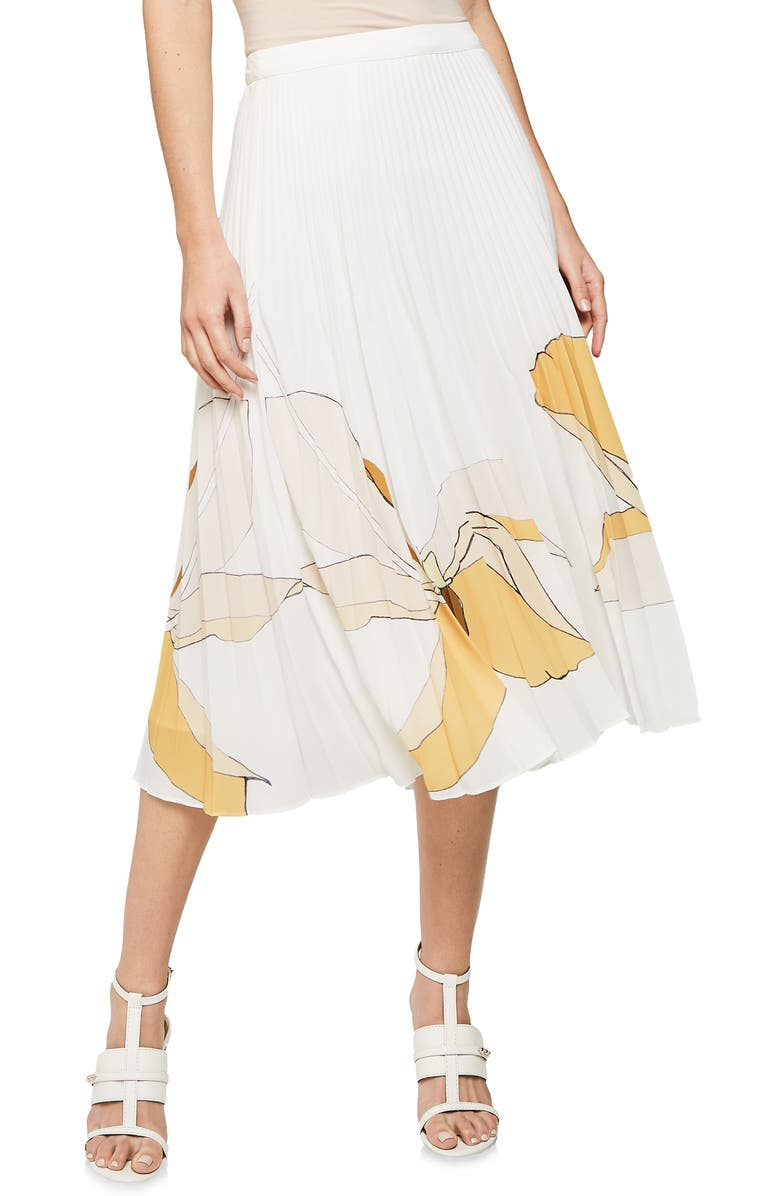 REISS Armelle Pleated Midi Skirt, Main, color, 100