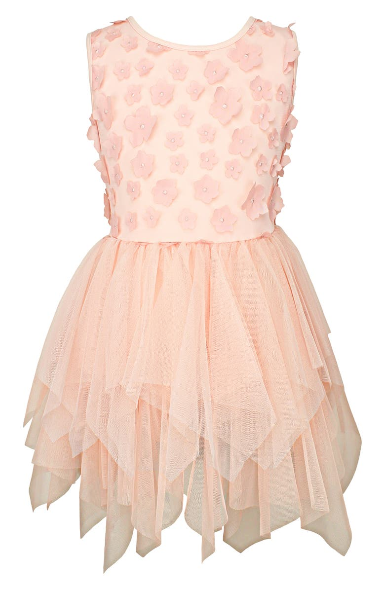 POPATU Floral Appliqué Tiered Tulle Dress, Main, color, 800