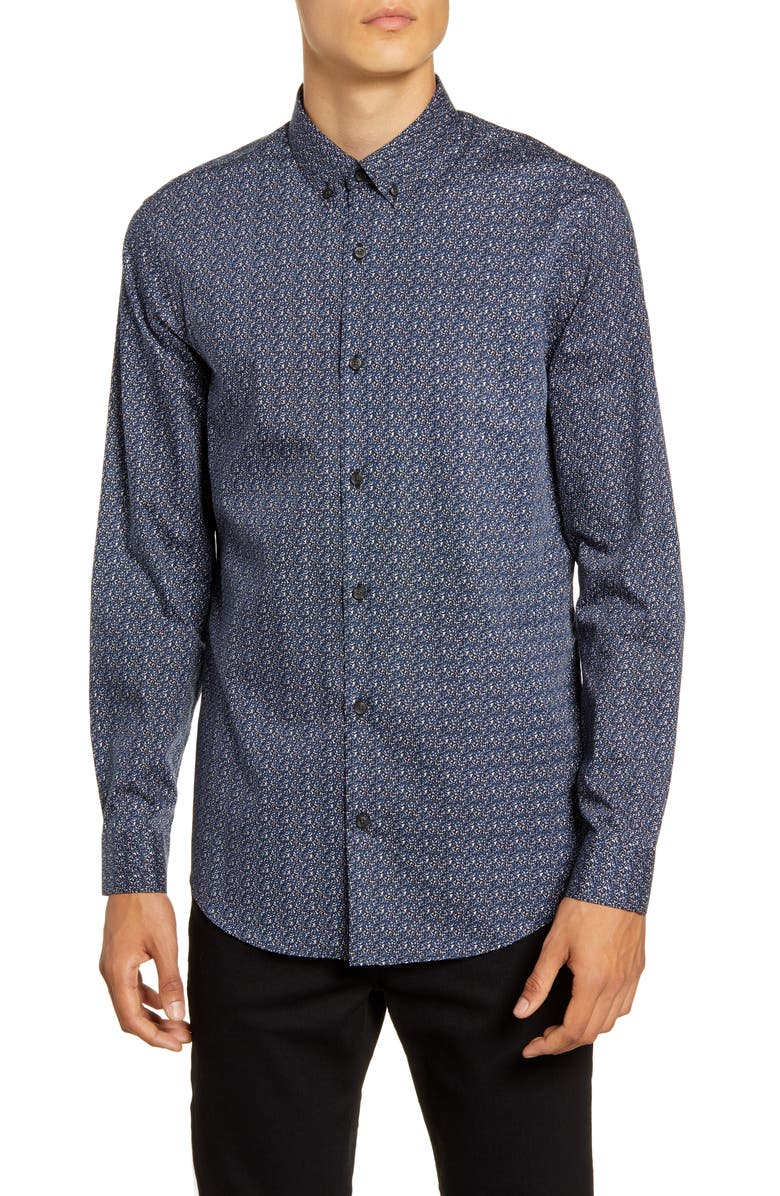 CALIBRATE Print Button-Down Shirt, Main, color, BLUE BLACK SCRIBBLE PRINT