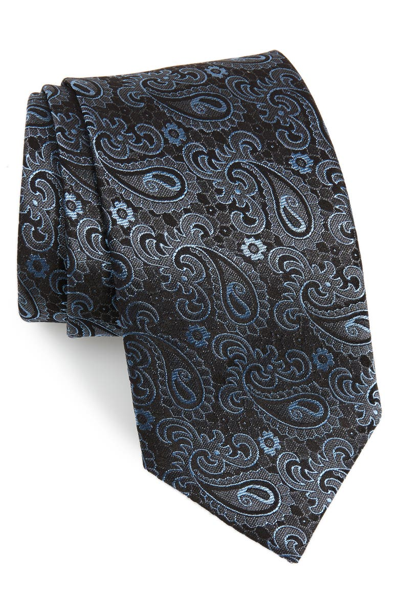 DAVID DONAHUE Paisley Silk Tie, Main, color, 020