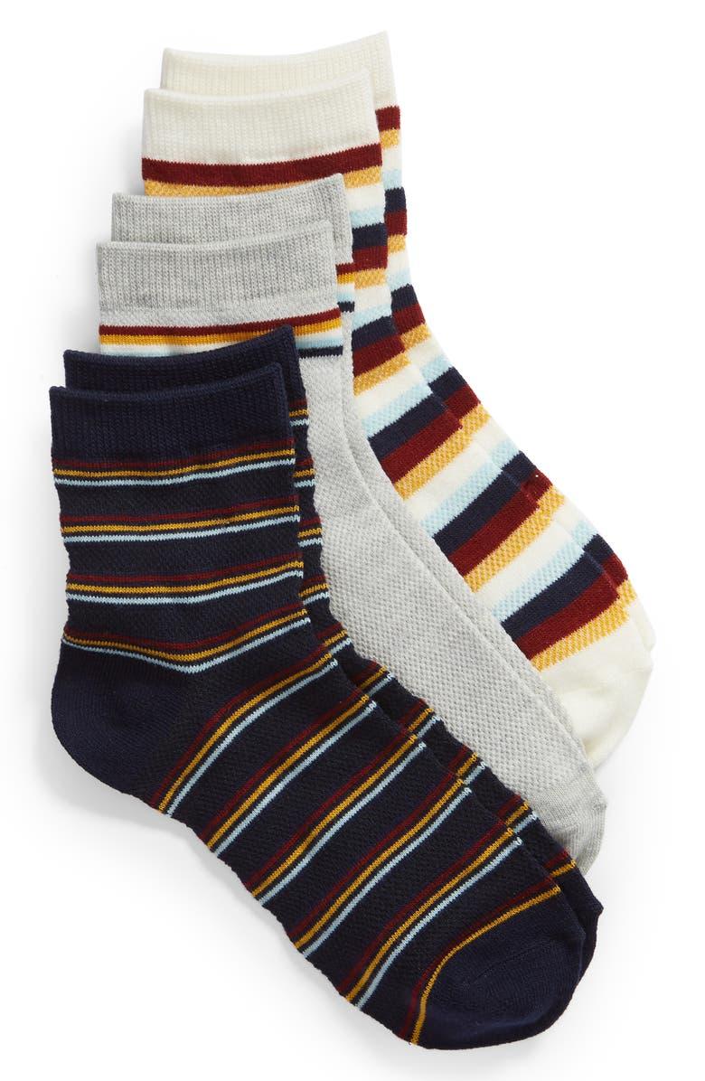 BP. 3-Pack Stripe Ankle Socks, Main, color, IVORY EGRET MULTI