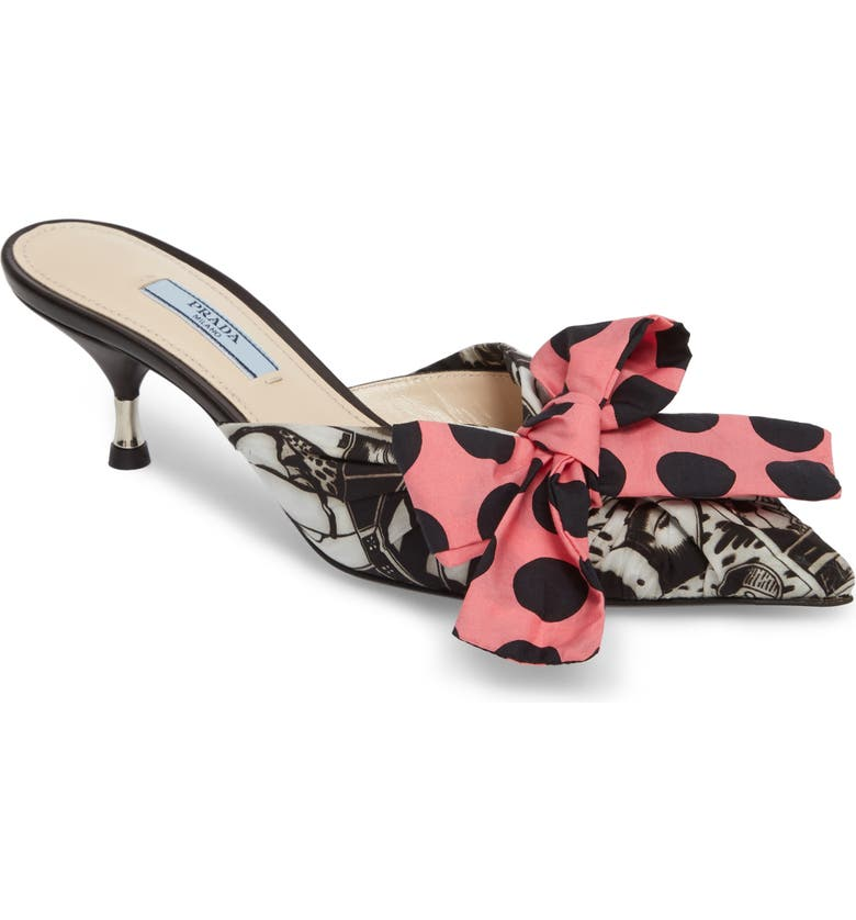 PRADA Bow Pointy Toe Mule, Main, color, 001