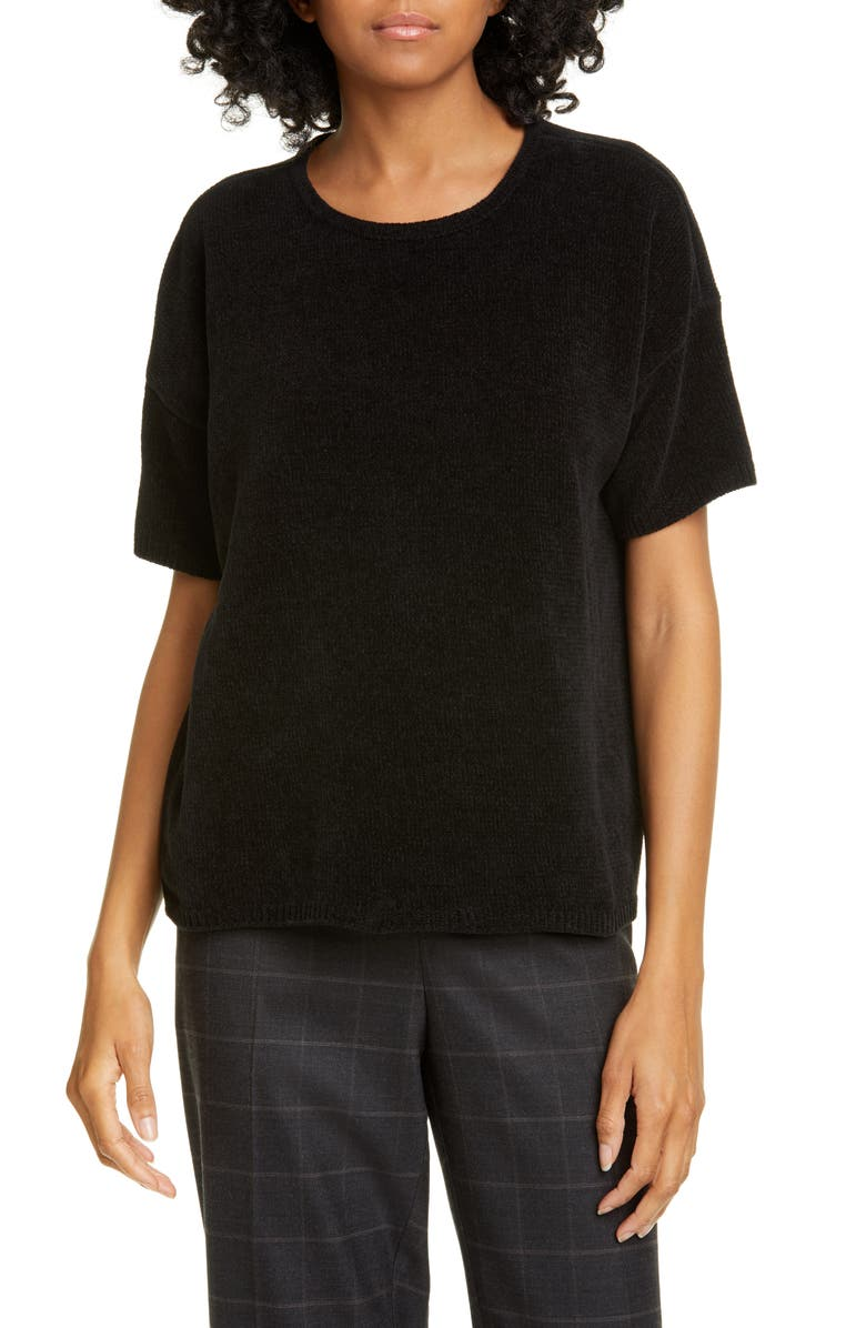 EILEEN FISHER Short Sleeve Cotton Chenille Sweater, Main, color, 001