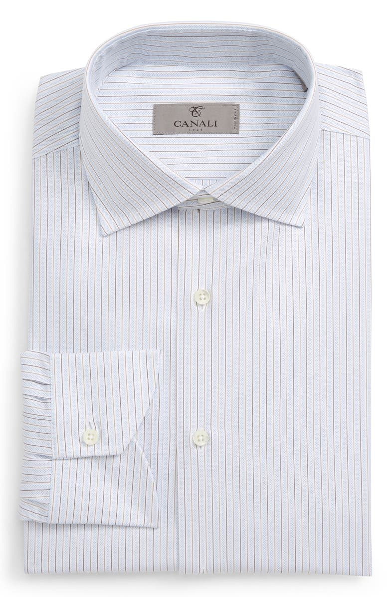 CANALI Slim Fit Stripe Dress Shirt, Main, color, BEIGE