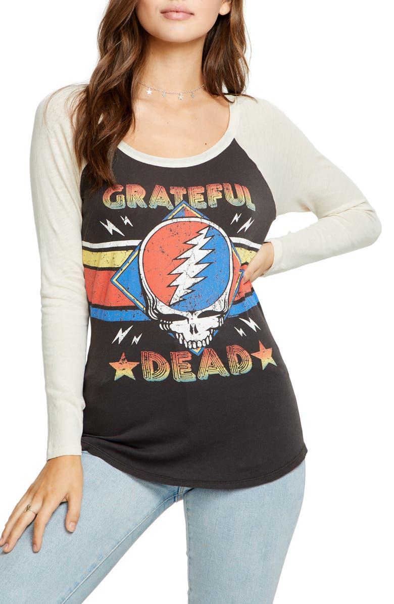 CHASER Grateful Dead Baseball Tee, Main, color, VIN BLK/ AU LAIT
