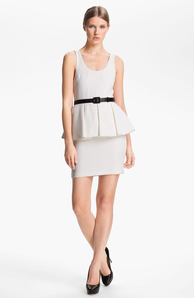 ALICE + OLIVIA Belted Peplum Minidress, Main, color, 100