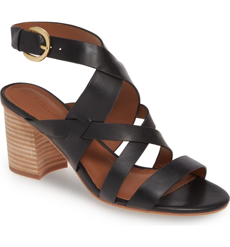 NORDSTROM SIGNATURE Strappy Slingback Sandal, Main, color, BLACK LEATHER