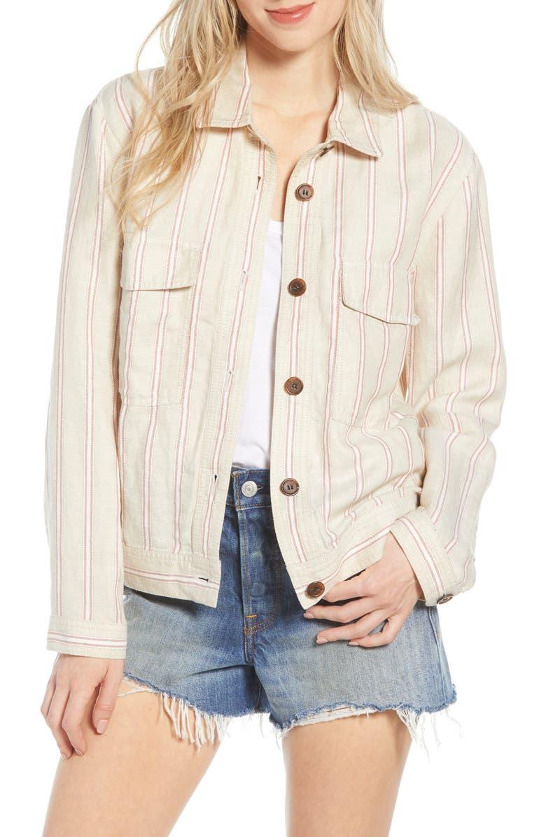 HINGE Stripe Linen Blend Trucker Jacket, Main, color, TAN NANTUCKET SEASONAL STRIPE