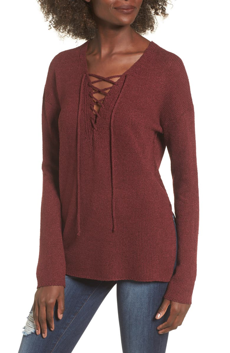 ASTR THE LABEL ASTR Lace-Up Sweater, Main, color, BURGUNDY
