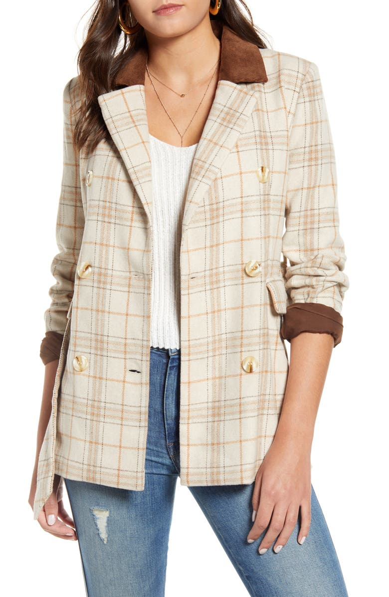J.O.A. Check Print Double Breasted Jacket, Main, color, BEIGE