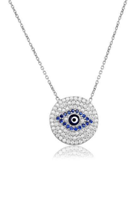 Image of Gabi Rielle Sterling Silver Blue Evil Eye CZ Pendant Necklace