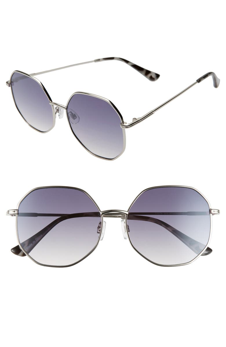 BP. 56mm Gradient Octagonal Sunglasses, Main, color, SILVER