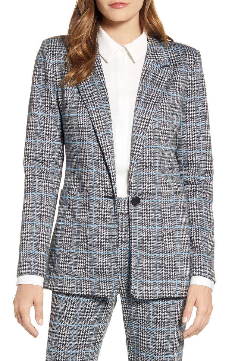 VINCE CAMUTO Ponte Plaid Blazer, Main, color, SERENE LAKE
