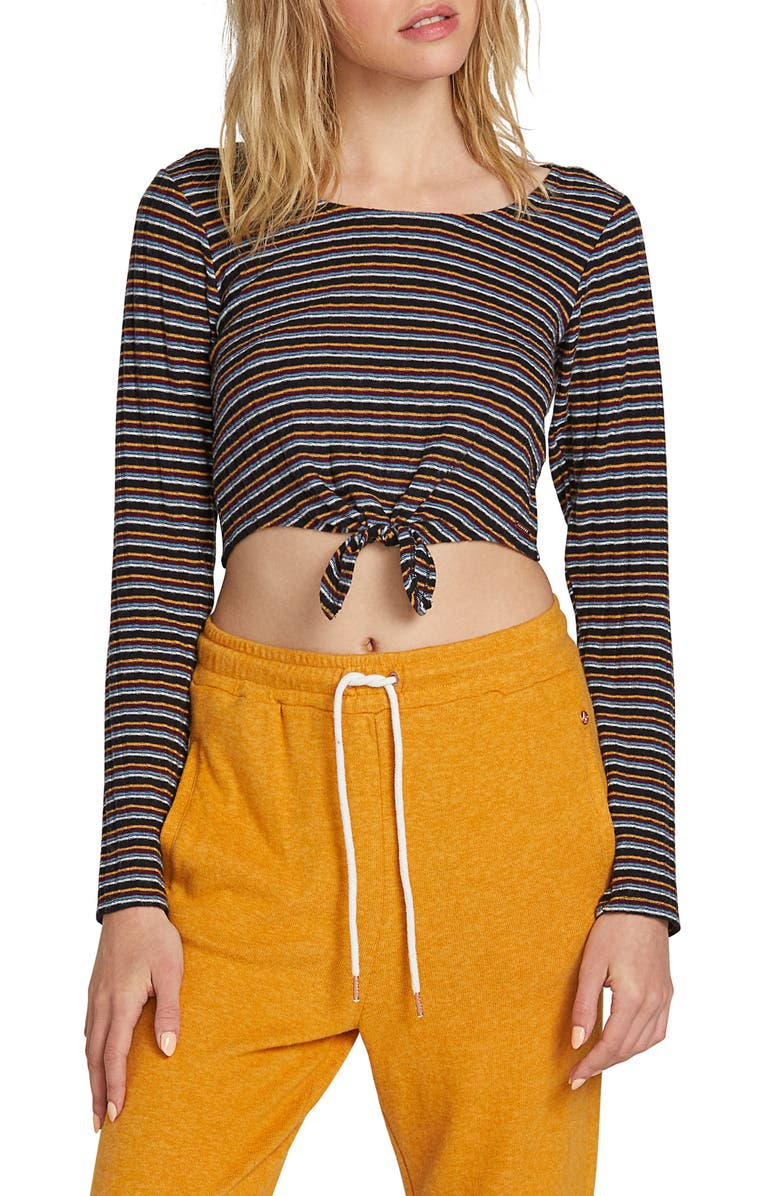 VOLCOM Lil Stripe Crop Top, Main, color, BLACK COMBO