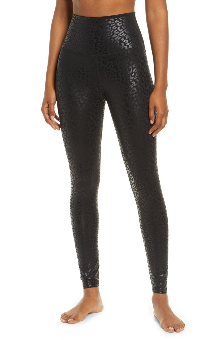 BEYOND YOGA Midi High Waist Leggings, Main, color, BLACK-SHINY BLACK LEOPARD