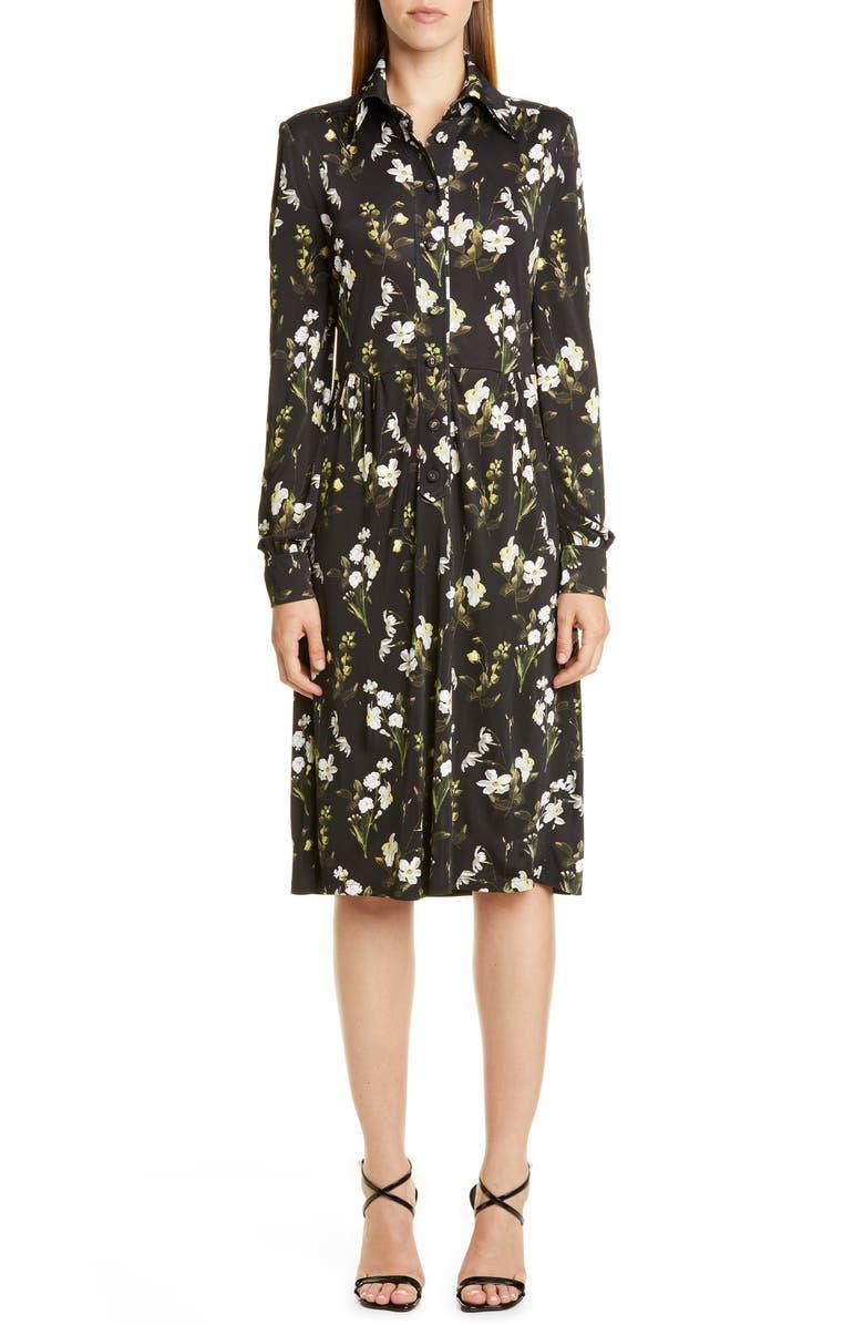 ERDEM Floral Long Sleeve Shirtdress, Main, color, 001