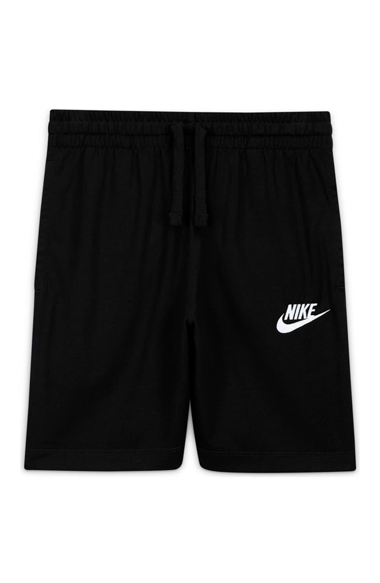 NIKE Sportswear Logo Jersey Shorts, Main, color, BLACK/WHITE/WHITE