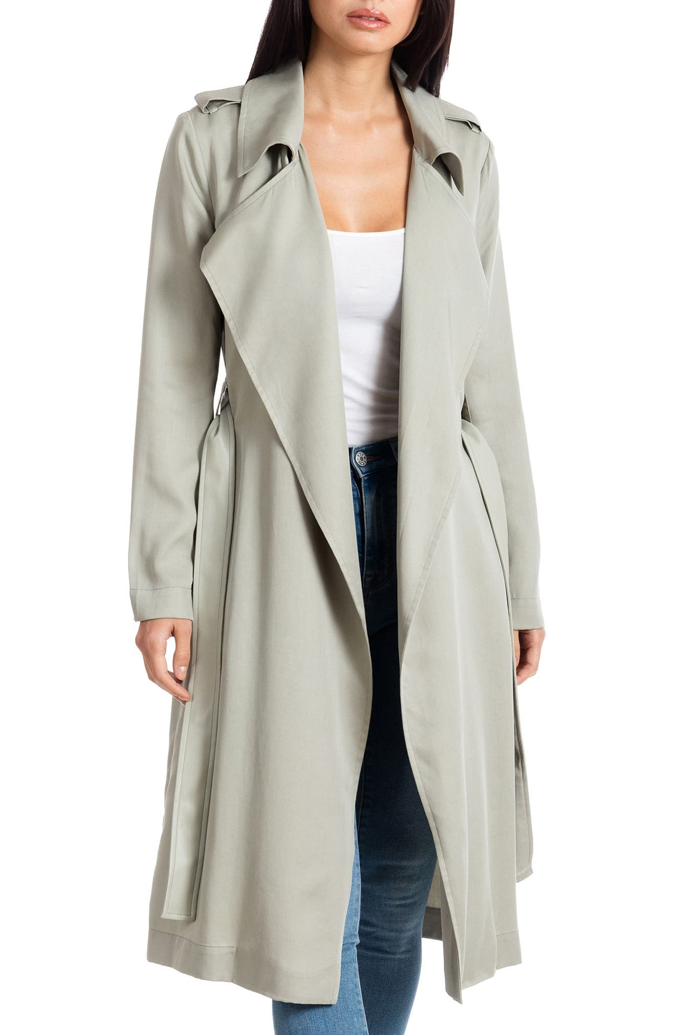 ,                             Badgley Mischka Faux Leather Trim Long Trench Coat,                             Main thumbnail 24, color,                             331