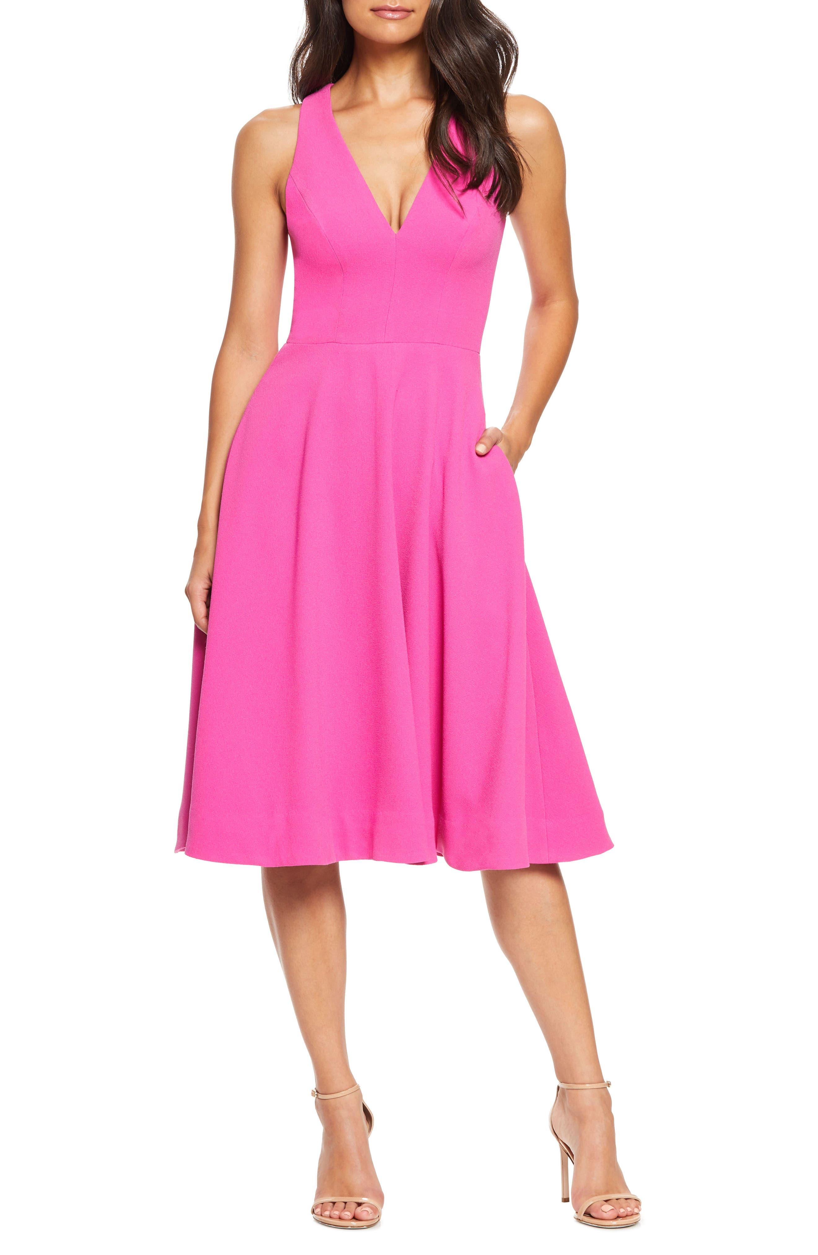 ,                             Catalina Tea Length Fit & Flare Dress,                             Main thumbnail 1, color,                             BRIGHT FUCHSIA