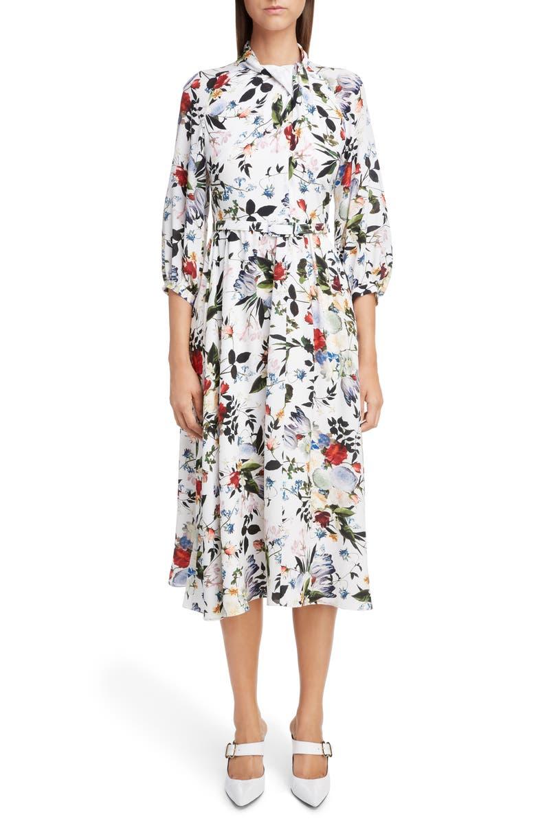 ERDEM Floral Cotton Poplin Midi Dress, Main, color, 100