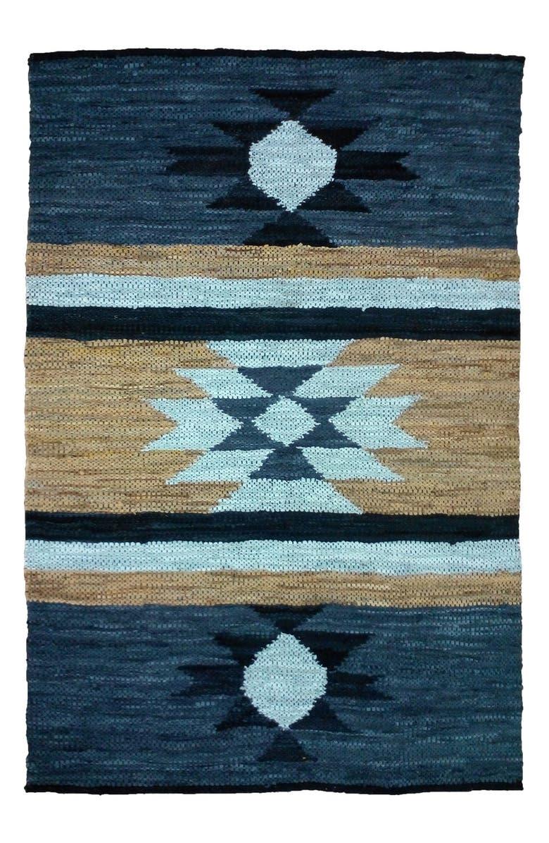 Geometric Handmade Leather Rug