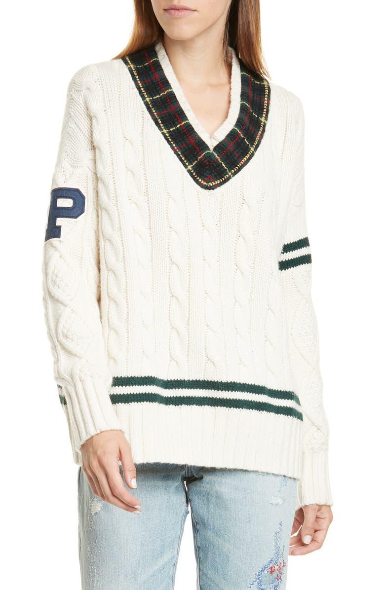 POLO RALPH LAUREN Cable Knit Letterman Sweater, Main, color, 900
