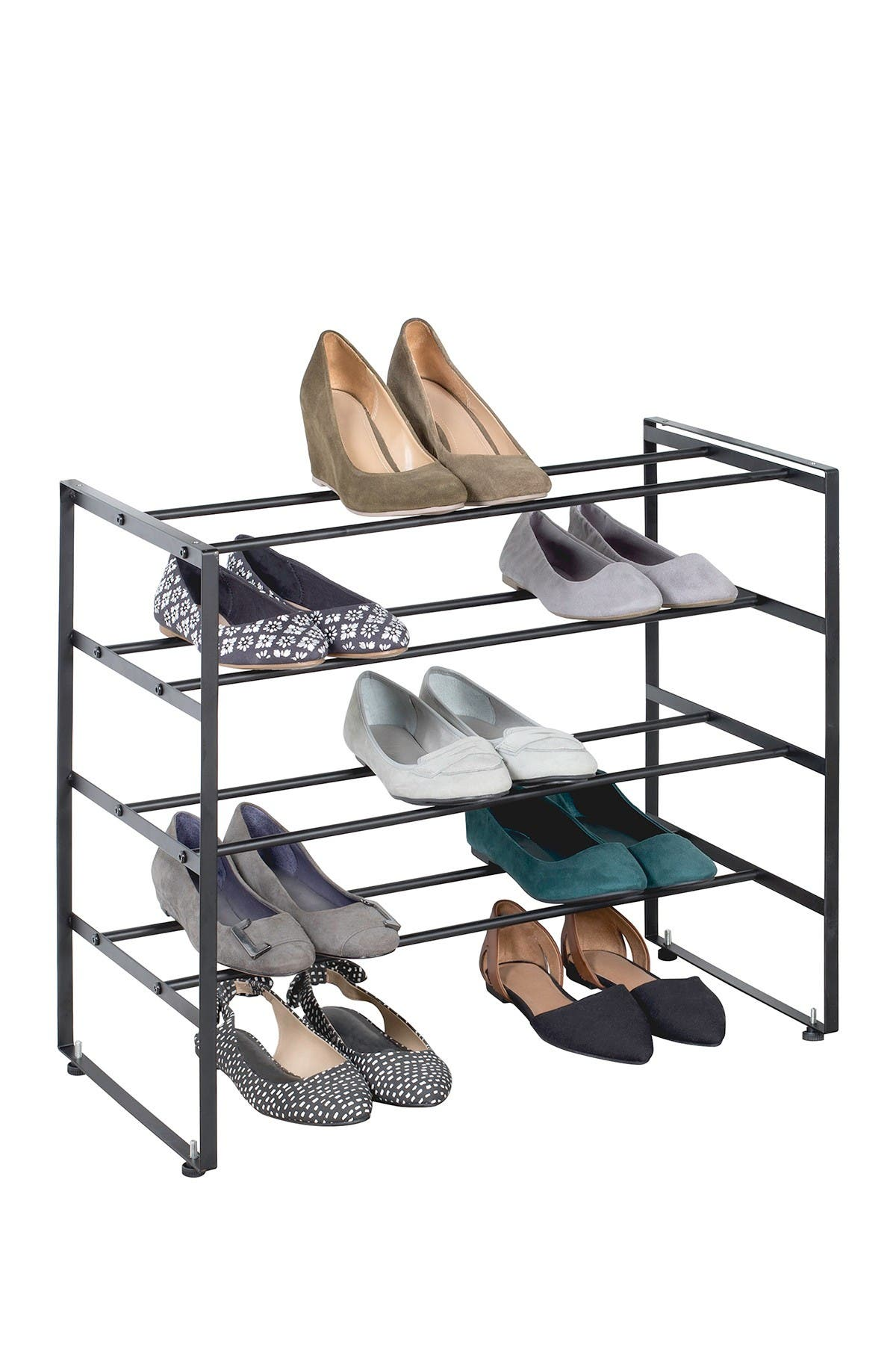 Image of RICHARDS HOMEWARES Black Matte 4-Tier Shoe Rack
