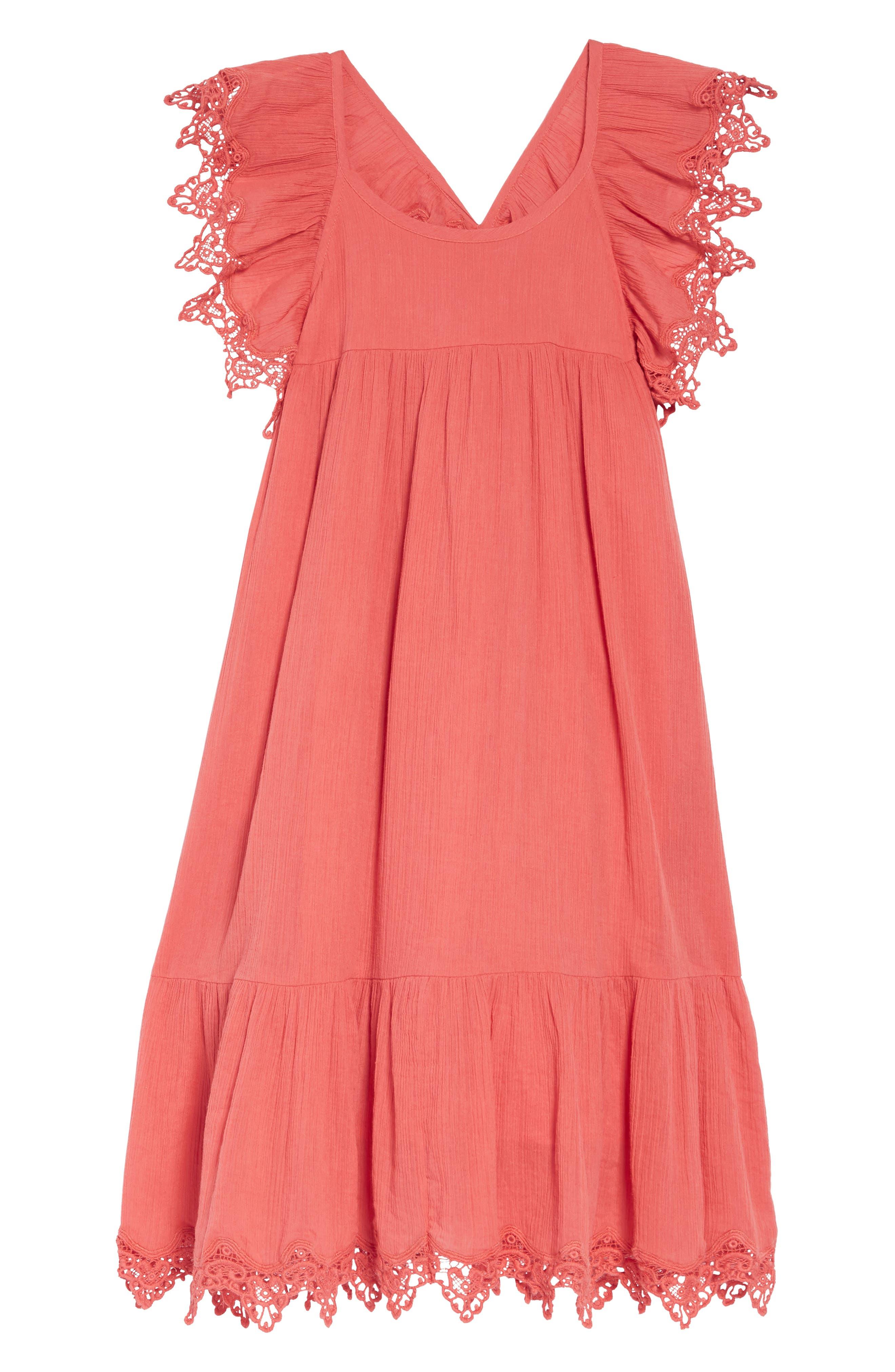 Aviana Crochet Trim Dress, Main, color, CORAL