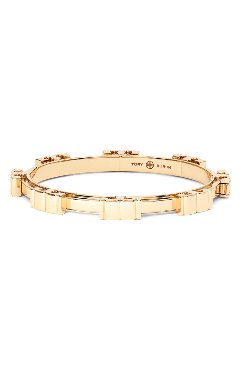 TORY BURCH Serif Stripe Hinge Bracelet, Main, color, TORY GOLD