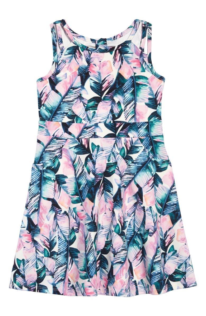 LITTLE ANGELS Palm Print Scuba Skater Dress, Main, color, 300