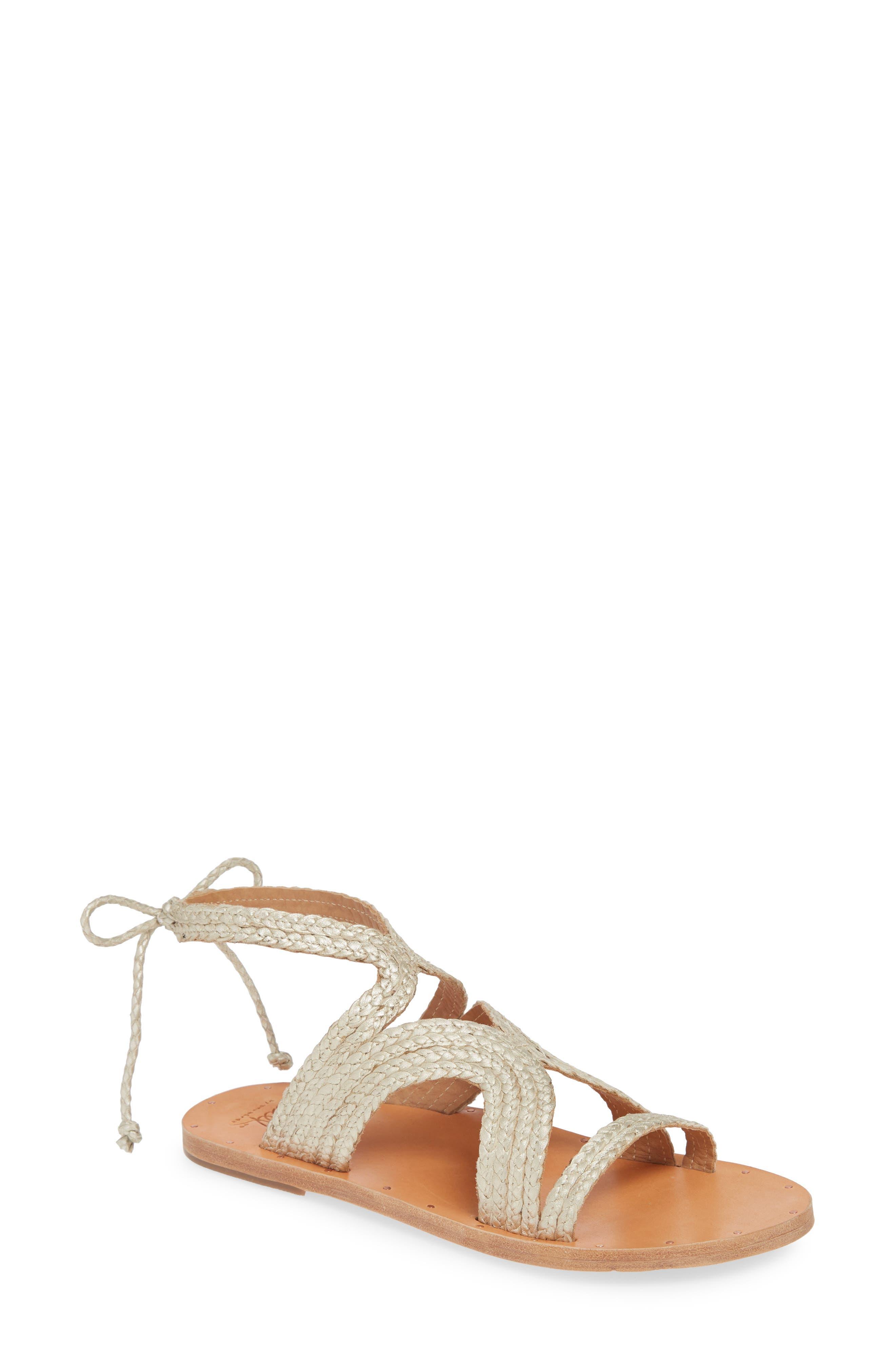 Beek Cuckoo Ankle Tie Sandal, Metallic