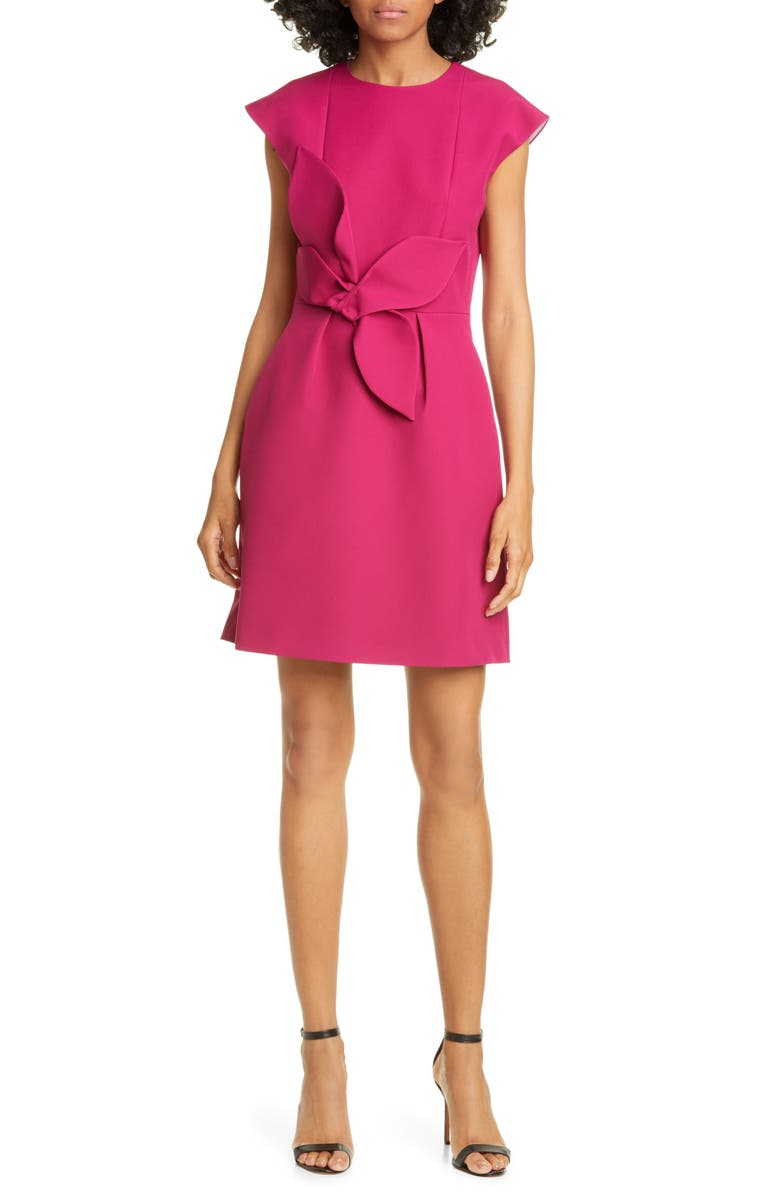 TED BAKER LONDON Polly Structured Bow Dress, Main, color, DEEP PINK